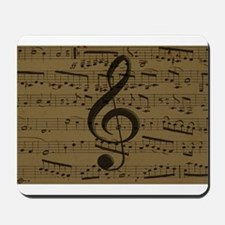 Musical Treble Clef sheet music Mousepad