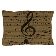 Musical Treble Clef sheet music Pillow Case
