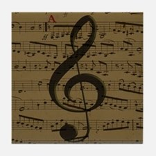 Musical Treble Clef sheet music Tile Coaster