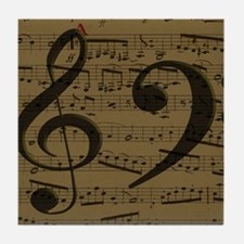 Treble Clef Bass sheet music Tile Coaster