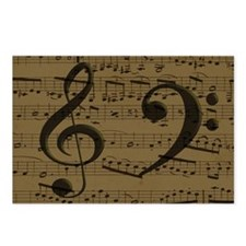 Treble Clef Bass sheet music Postcards (Package of