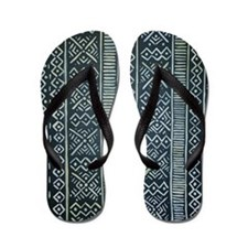 Mud Cloth Inspired  Flip Flops