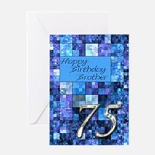 75th Birthday card for a brother,with abstract squ