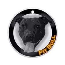 "Holiday black ""Pit Bull"" Round Ornament"