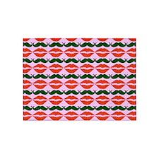 Mustache & Lips Pattern 5'x7'Area Rug