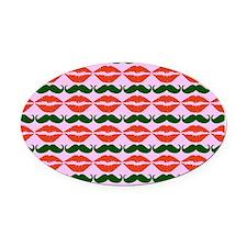 Mustache & Lips Pattern Oval Car Magnet