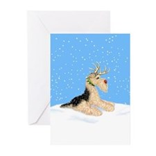 Airedale Christmas Dale Deer Greeting Cards (Pk of