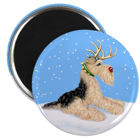 Airedale Christmas Dale Deer Magnet