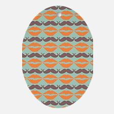 Mustache & Lips Pattern Ornament (Oval)