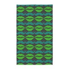 Mustache & Lips Pattern 3'x5' Area Rug