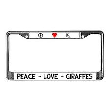 Peace Love Giraffes License Plate Frame