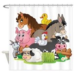 Cute Cartoon Farm Animals Shower Curtain