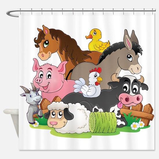 Cute Cartoon Farm Animals Shower Curtain