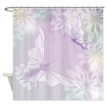 White Butterfly Floral Lavender Shower Curtain