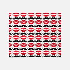 Mustache & Lips Pattern Throw Blanket
