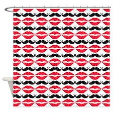 Mustache & Lips Pattern Shower Curtain