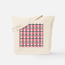 Mustache & Lips Pattern Tote Bag