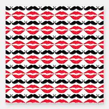 "Mustache & Lips Pattern Square Car Magnet 3"" x 3"""