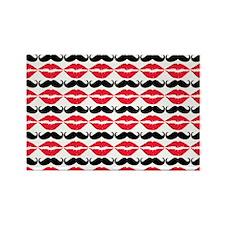 Mustache & Lips Pattern Rectangle Magnet