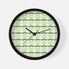 Mustache & Lips Pattern Wall Clock