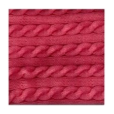 Wool cables in pink Tile Coaster