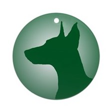 Green Doberman Profile Ornament (Round)