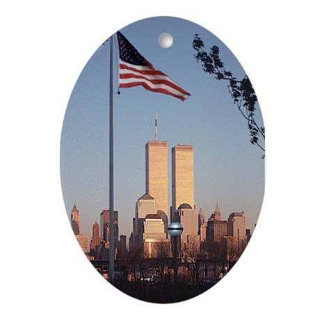 Twin Towers American Flag print ornament