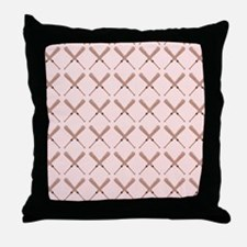 Misty Rose Baseball Bat Pattern Throw Pillow
