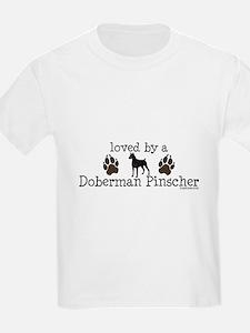 Loved by a doberman pinascher T-Shirt