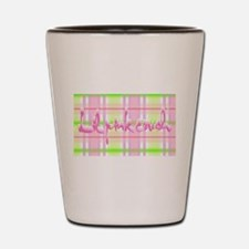 Lil pink crush pink green plaid.jpg Shot Glass