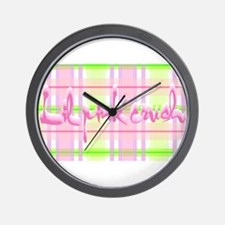 Lil pink crush pink green plaid.jpg Wall Clock