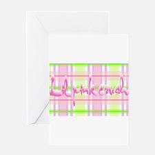 Lil pink crush pink green plaid.jpg Greeting Cards