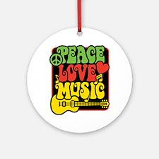 Rasta Peace Love Music Ornament (Round)