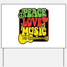 Rasta Peace Love Music Yard Sign