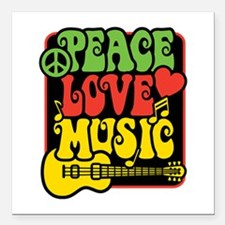 "Rasta Peace Love Music Square Car Magnet 3"" x 3"""