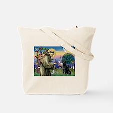 St.Francis & Black Labrador Retriever Tote Bag
