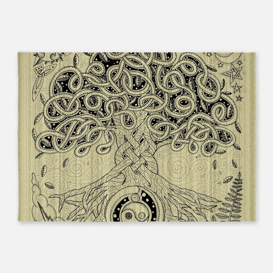 Circle Celtic Tree of Life Ink 5'x7'Area Rug
