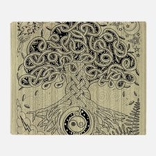 Circle Celtic Tree of Life Ink Throw Blanket