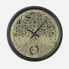 Circle Celtic Tree of Life Ink Large Wall Clock
