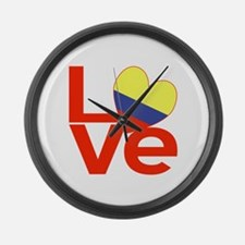 Red Colombia LOVE Large Wall Clock