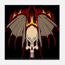 Black Flying Skull Tile Coaster