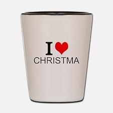 I Love Christmas Shot Glass