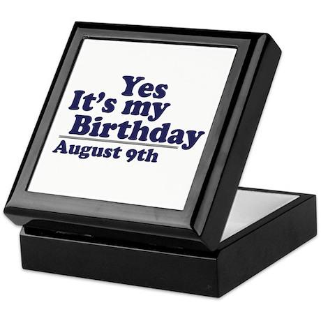 August 9 Birthday Keepsake Box