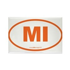 Michigan MI Euro Oval Rectangle Magnet