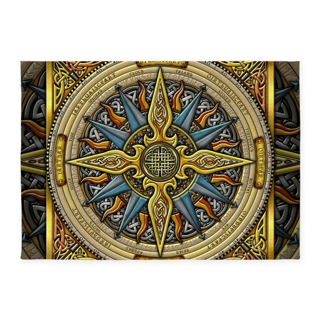 Celtic Compass 5'x7'Area Rug By Artoffoxvox