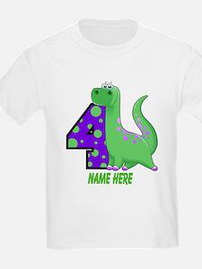 Dinosaur 4th Birthday Custom T-Shirt