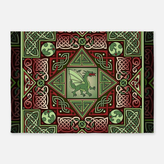 Celtic Dragon Labyrinth 5'x7'Area Rug