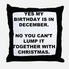 Christmas Birthday Throw Pillow