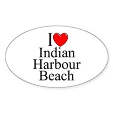 """I Love Indian Harbour Beach"" Oval Decal"