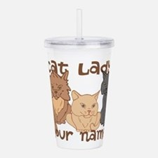 Personalized Cat Lady Acrylic Double-wall Tumbler